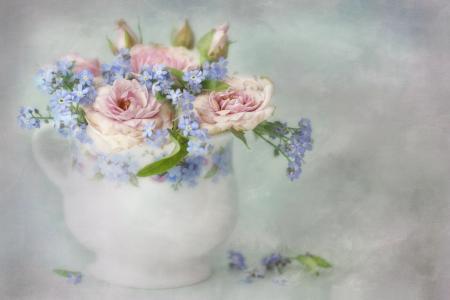 Lizzy Pe,花瓶,鲜花,玫瑰,勿忘我,艺术