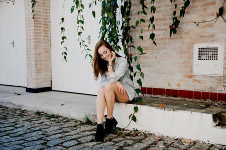 女孩,街头,心情,微笑