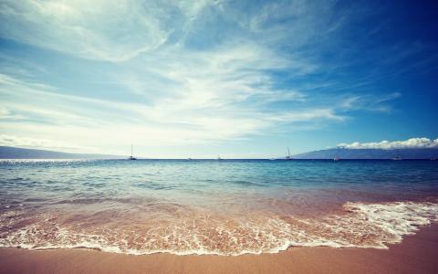岸,景观,水,沙,海,性质,天空,云
