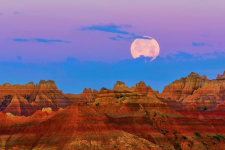 美国,南达科他州,山,月亮,晚上,日落,天空