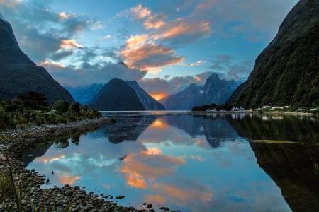 米尔福德峡湾,新西兰,米尔福德峡湾,新西兰,峡湾,海湾,山脉,倒影