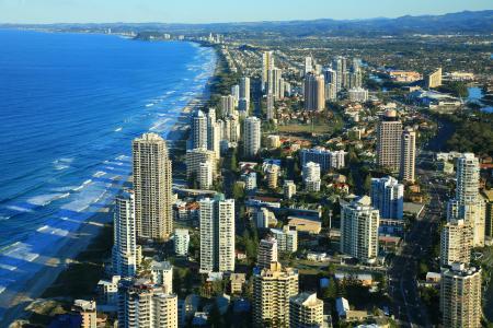 澳大利亚,海边,房子,以上,昆士兰,城市