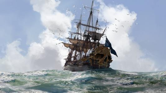 海,波浪,船,海鸥,艺术
