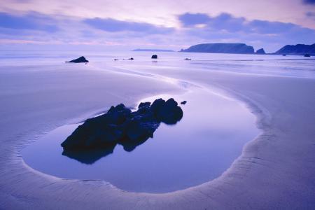 海,丁香,颜色,水,岩石,岩石,天空,云,晚上,日落,安宁,沉默