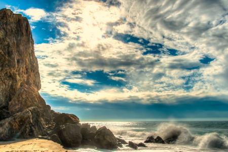 水,天空,云,马里布,波浪