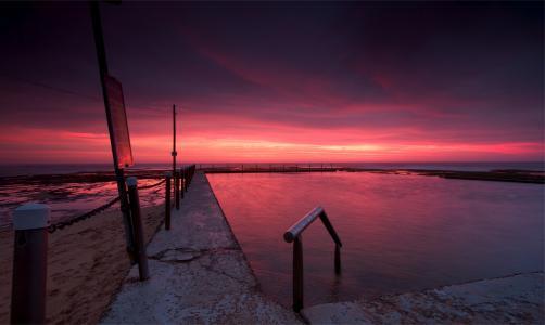 黄昏,澳大利亚,晚上,云,海滩,日落,天空