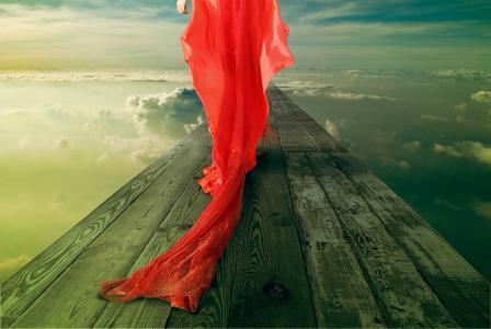红色,一个穿红裙子的女孩