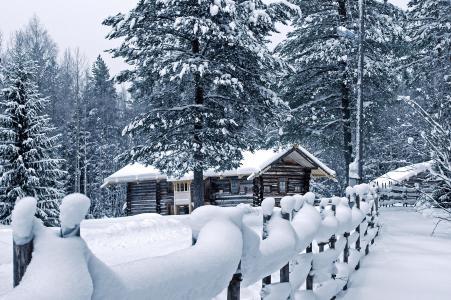 冬天,自然,雪,房子