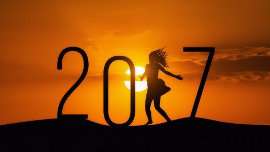 即将到来,2017年,女孩,太阳,日落