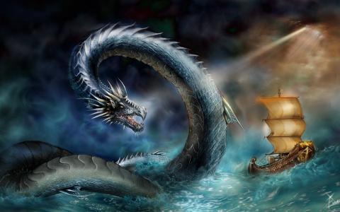 船,蛇,攻击,风暴,海,海