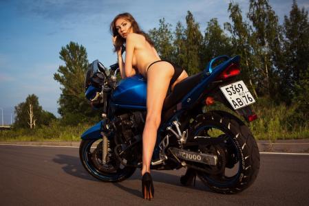 摩托车,路,女孩,高跟鞋,夏天