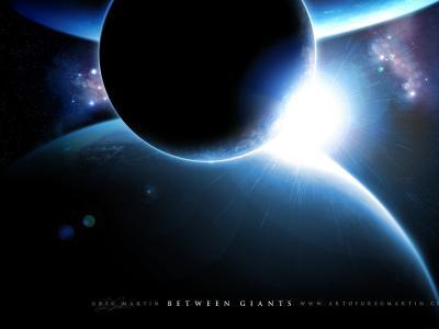 行星,卫星,光芒,闪耀