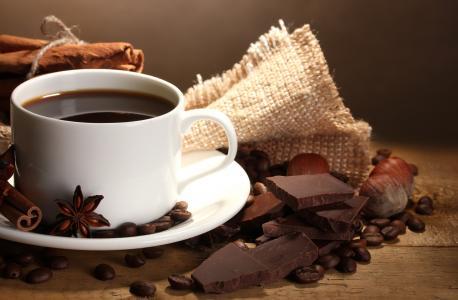 巧克力,五谷,咖啡,咖啡,坚果,杯子