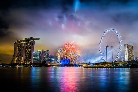 城市,度假,新加坡,晚上,酒店,敬礼,烟花