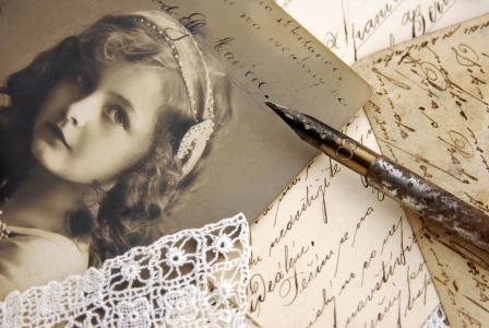 复古,女孩,图片,棕褐色,线,复古,信件