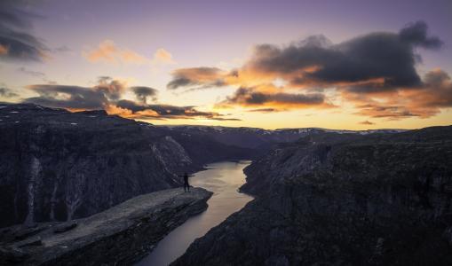 挪威,山,日落,岩石,美丽