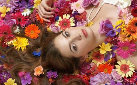 女孩,鲜花,地毯,夏天,组成