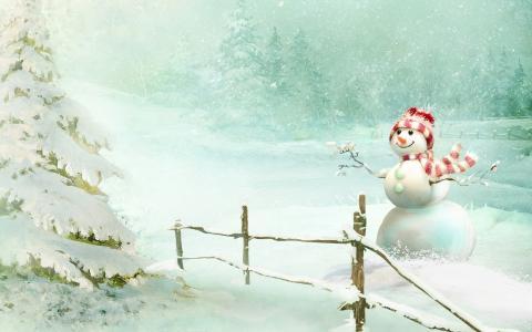 雪,雪人,树,微笑,好心情