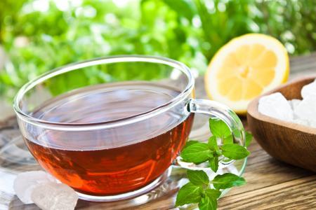 杯,茶,茶碟,饮料,柠檬,糖,表,薄荷