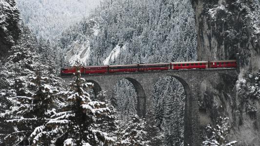 山,阿尔卑斯山,瑞士,脚手架,桥,火车,冬天,美丽