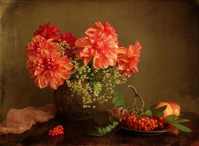 花瓶,鲜花,大丽花,板,分支,罗文,苹果