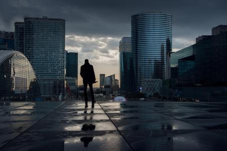 法国,巴黎,建筑物,天空,阴沉,男子,侧影,美女
