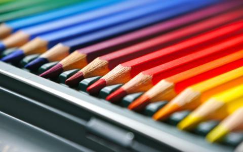 铅笔,彩色,绘图,框,铅笔盒