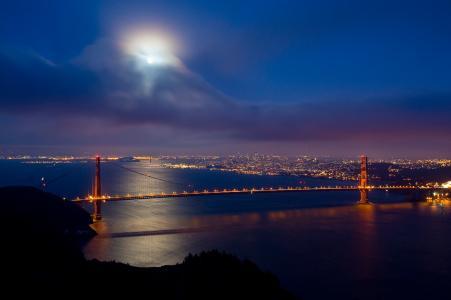 云,金门,桥,旧金山,月亮