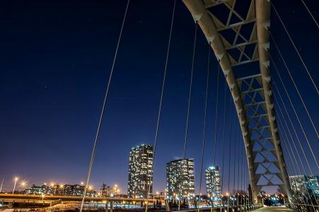 城市,桥,晚上,灯,照明,美容,天空,建筑物