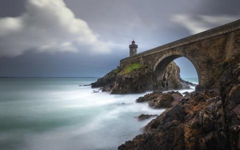 布列塔尼,法国,海湾,岩石,灯塔,海,水,桥