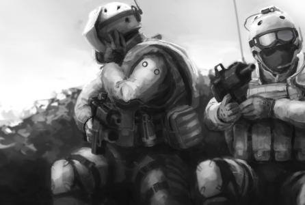 装甲,武器,战争,士兵,绘图,弹药
