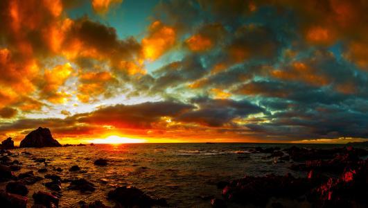 海,日落,天空,云,性质