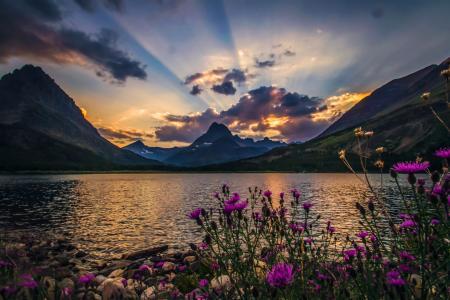 自然,美丽,湖,春天,超级照片,光线,太阳