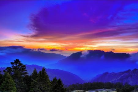 日落,山,云,顶视图,台湾