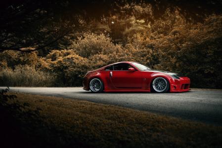 日产,汽车,跑车,红色,森林,道路,车轮