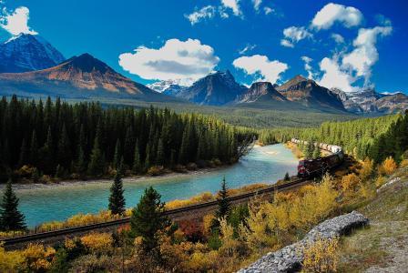 班夫,国家公园,艾伯塔省,弓河,加拿大,国家公园,班夫,山,艾伯塔省,河,加拿大,火车