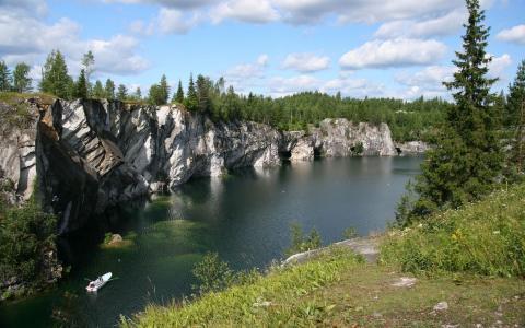 河,岩石,树木,天空,云,绿化,船,岸,美女