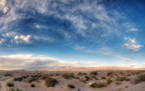 美丽的天空,沙漠,山脉,地平线,景观