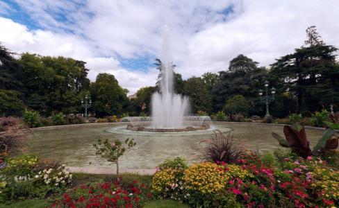 自然,公园,喷泉,灯,花坛,鲜花