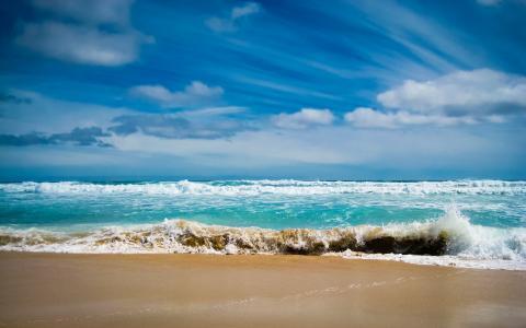 海,波浪,泡沫,沙子
