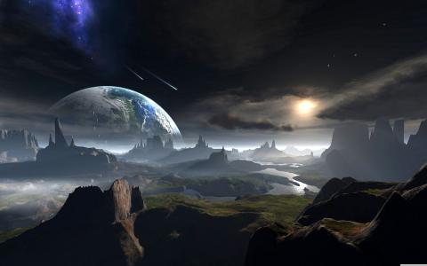 潮汐,行星,河,表面,流星,艺术,太空桌面壁纸