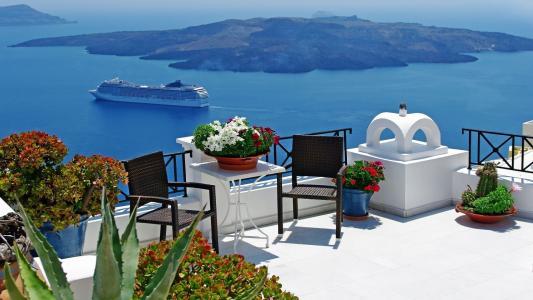 露台,海洋,岛屿,绿化,船舶,鲜花,椅子,美容