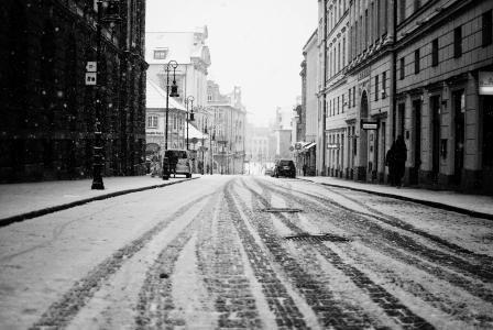 雪,建筑物,房屋,道路,人,城市,汽车,街道