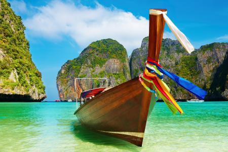 水,海滩,一天,多彩多姿,丝带,颜色,天堂,夏天船,天空,天空,蓝色,船