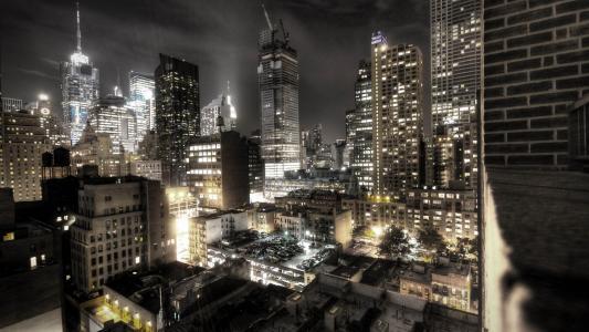 晚上,灯,建筑物,汽车,美容,照明