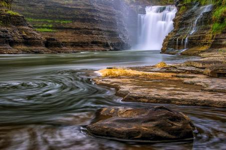 瀑布,森林,石头,苔藓,美丽,流动