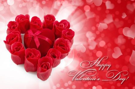 心,一盒,玫瑰,情人节