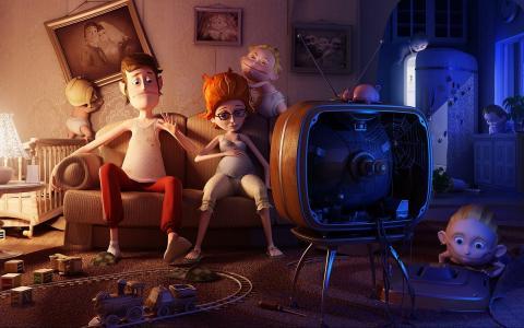 家庭,晚上,职业,电视