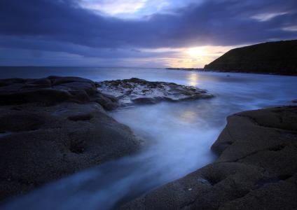 离开,石头,阳光,海,岸,海洋,晚上,山