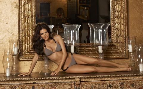 戴安娜莫拉莱斯,性感,模型,泳装,室内,镜子,蜡烛